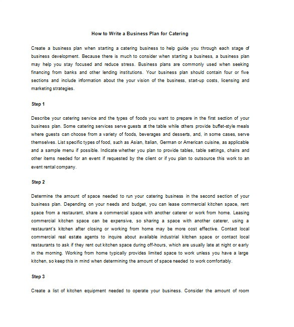 How to Write A Good Business Plan Template Catering Business Plan Template 13 Free Word Excel