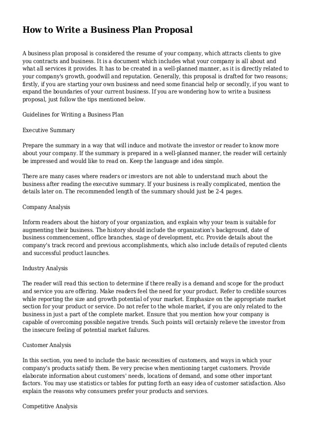 How to Write A Good Business Plan Template How to Write A Business Plan Proposal