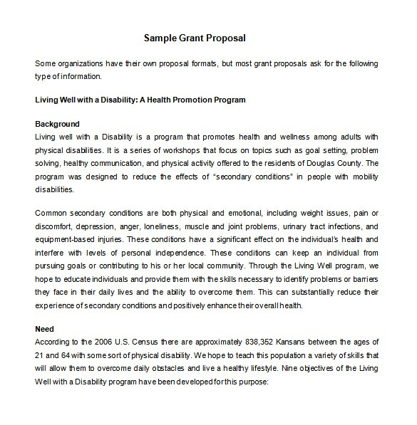 How to Write A Grant Proposal Template Grant Proposal Templates 15 Free Sample Example
