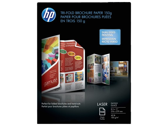hp laser glossy tri fold brochure paper 150 gsm 150 sht letter 85 x 11 in