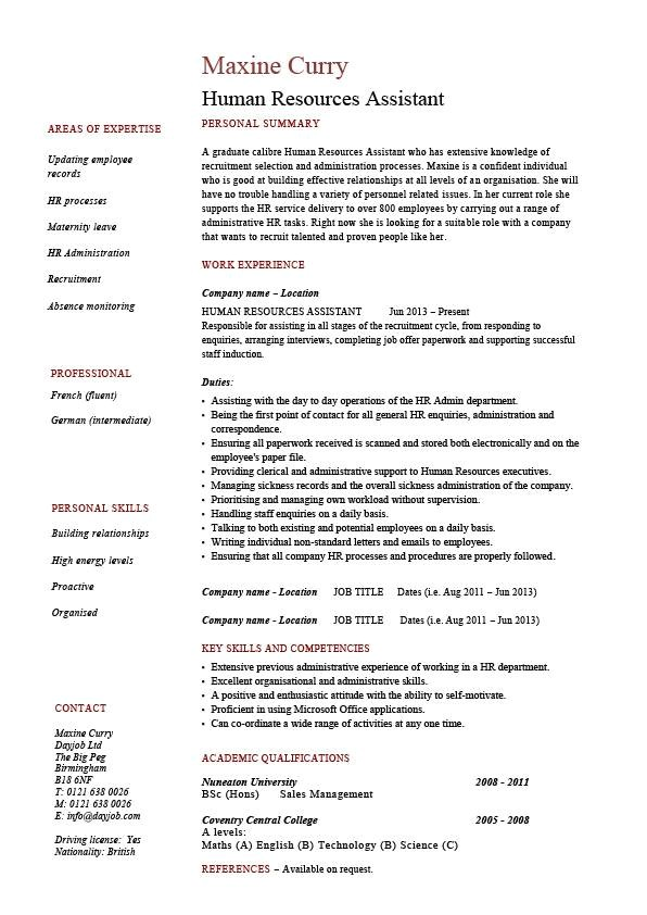 Hr assistant Resume Objective Samples Human Resources assistant Resume Hr Example Sample