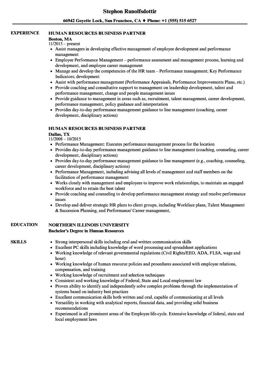 human resources business partner resume sample