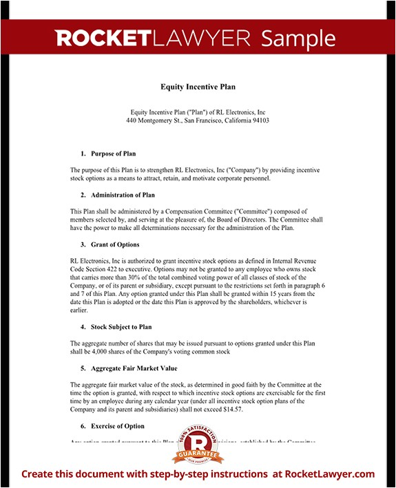Incentive Proposal Template Equity Incentive Plan for Shares Stocks Template