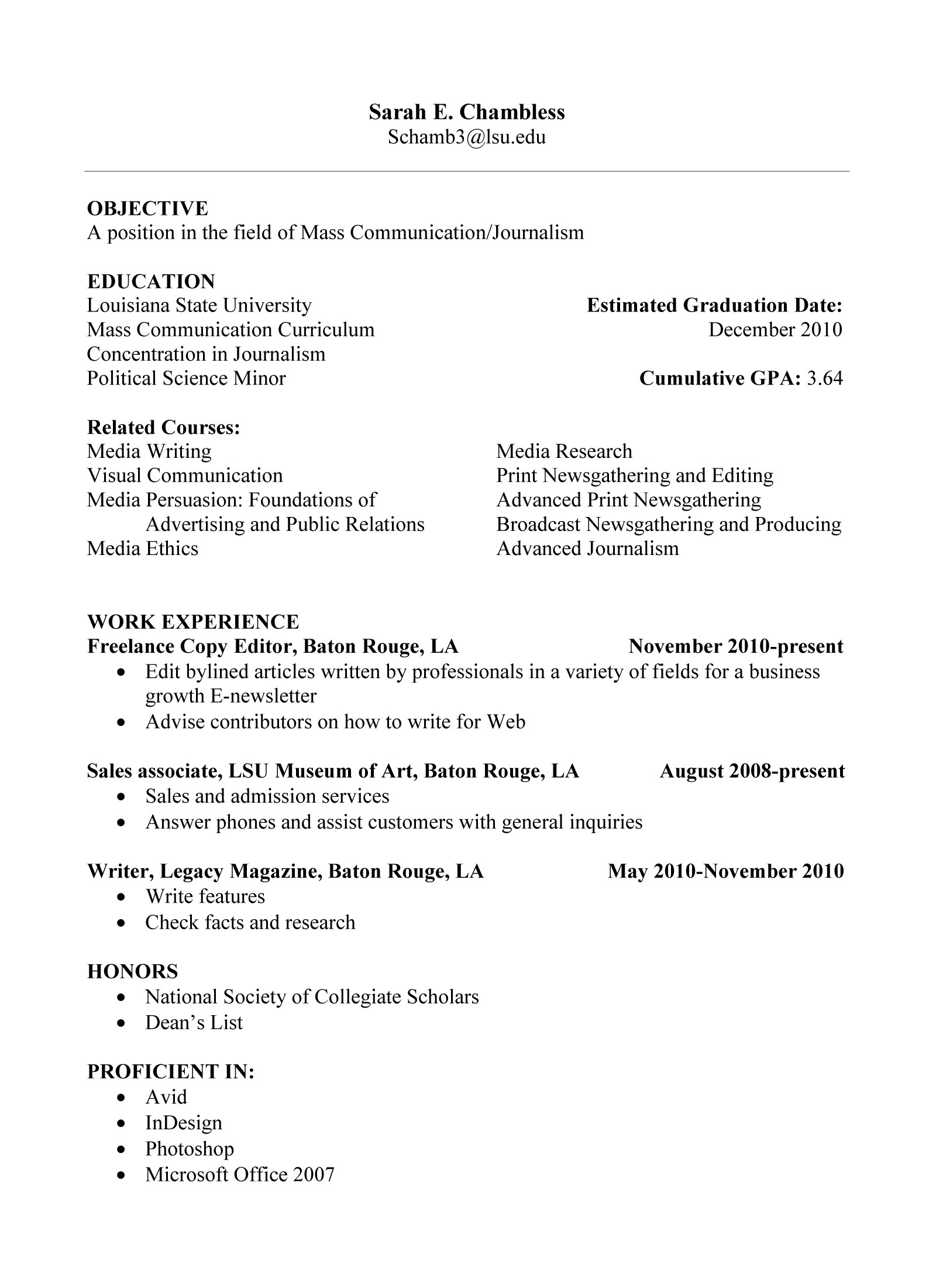 resume for inexperienced high school student