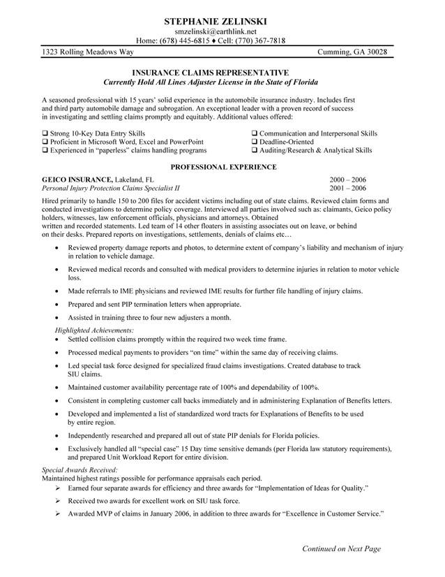 Insurance Resume Template Claims Representative Resume Sample Samplebusinessresume