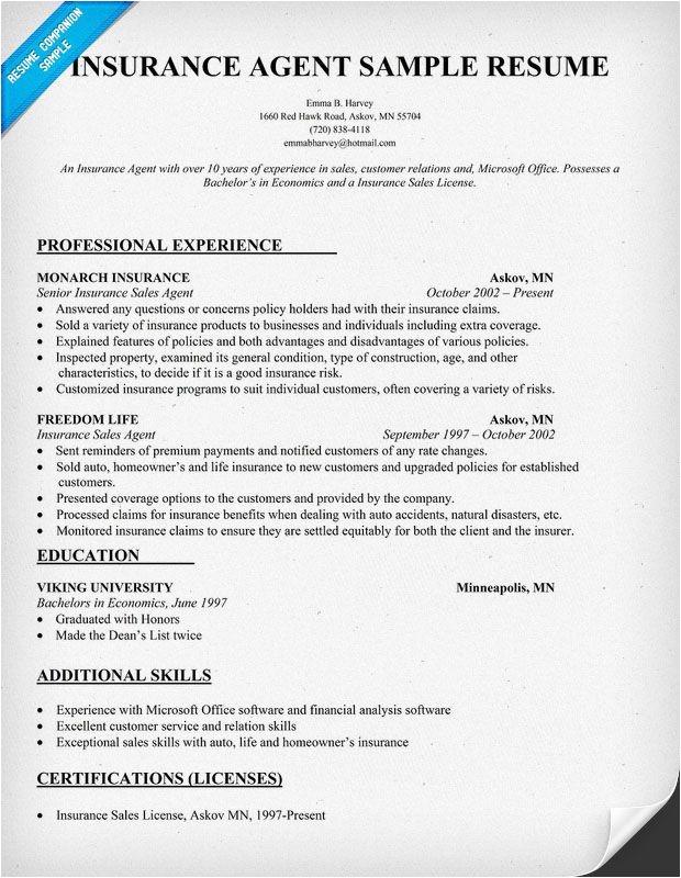 Insurance Resume Template Insurance Agent Resume Sample for Work Pinterest