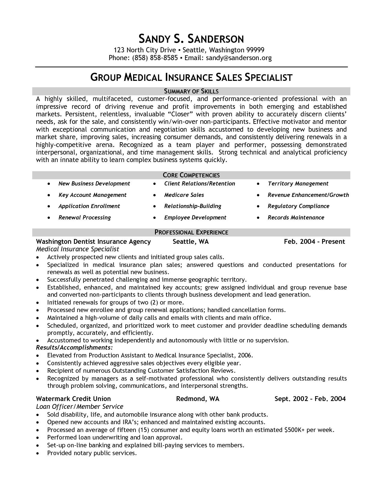 insurance specialist resume sample