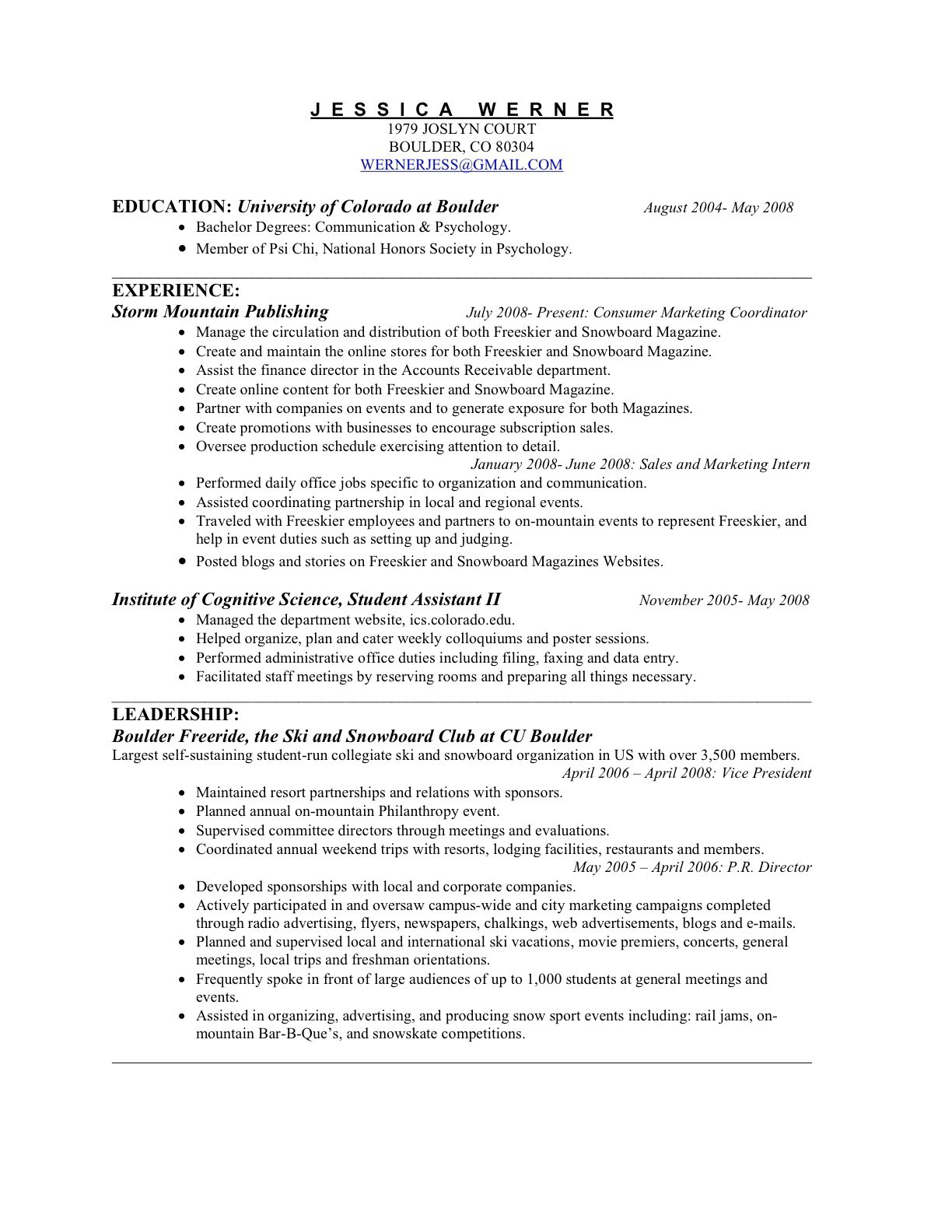 interest for resume examples