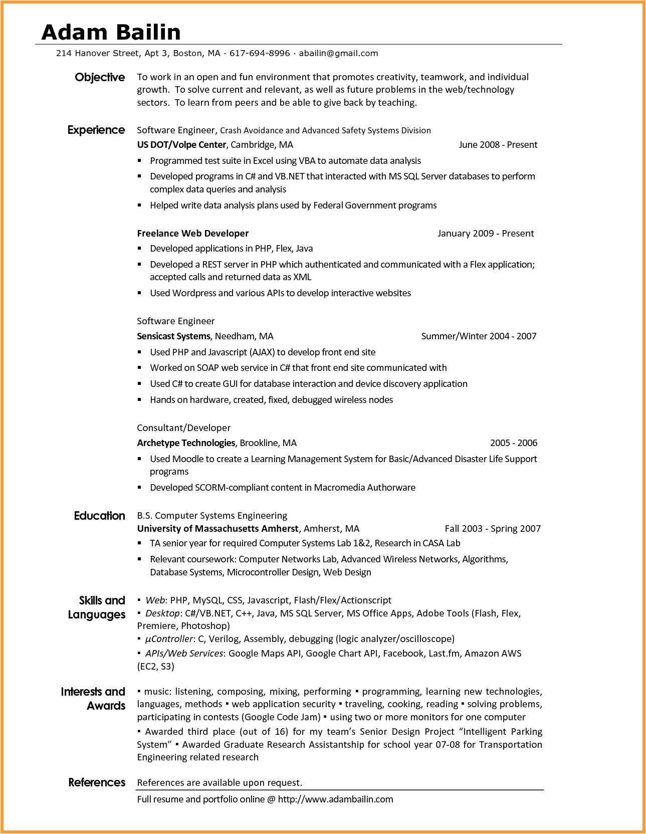 interest resume