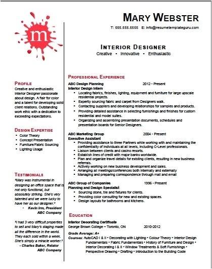 interior design resume template