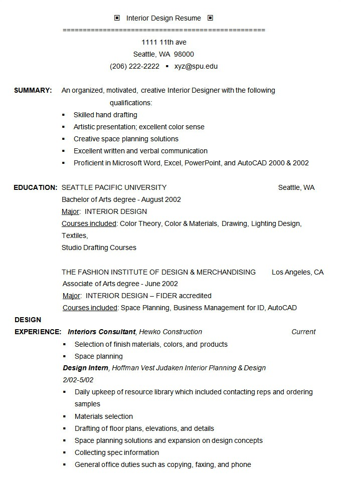 Interior Design Resume Template Professional Resume Template 60 Free Samples Examples