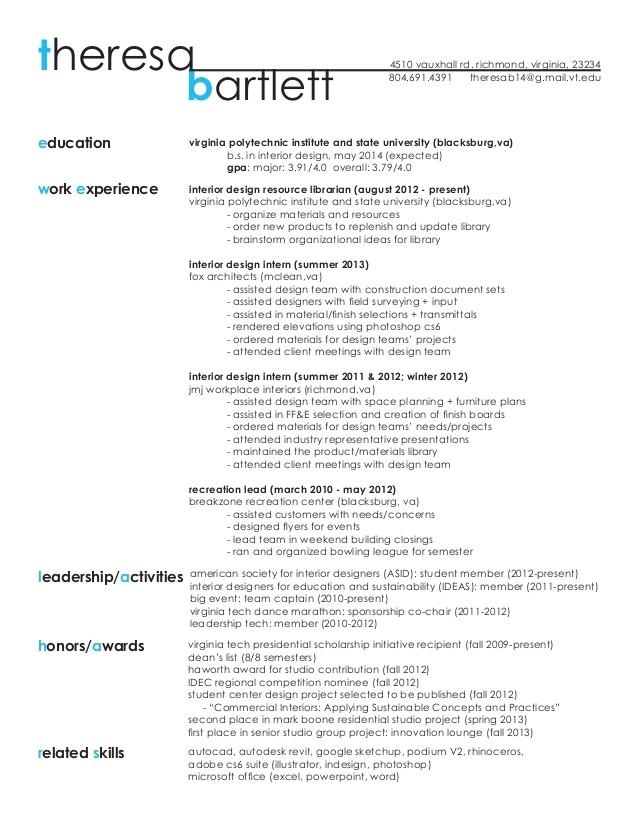 resume work sample theresa bartlett