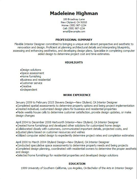 interior designer resume