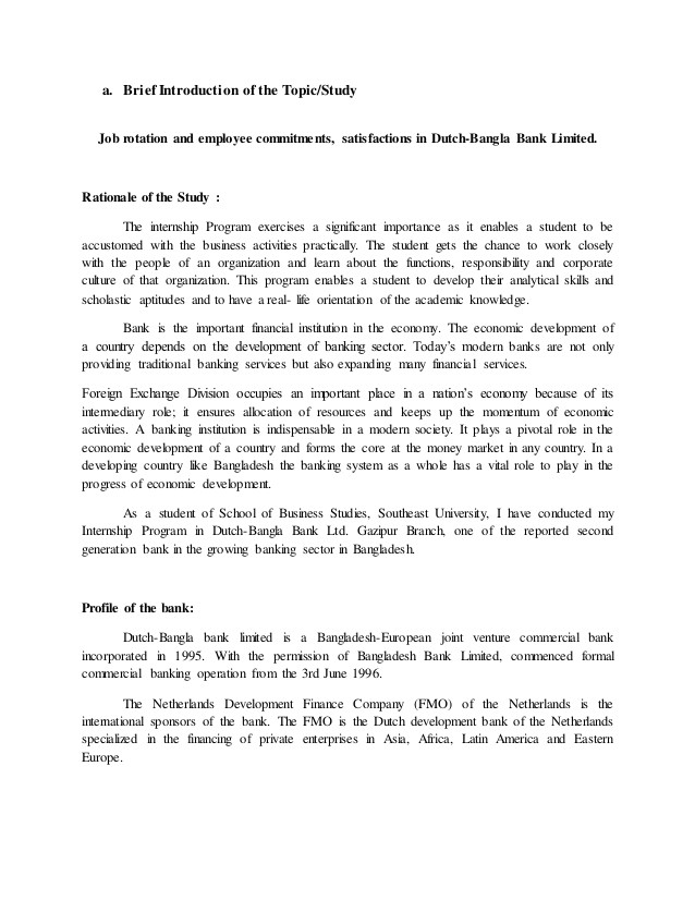 the internship research report proposal format for dbbl