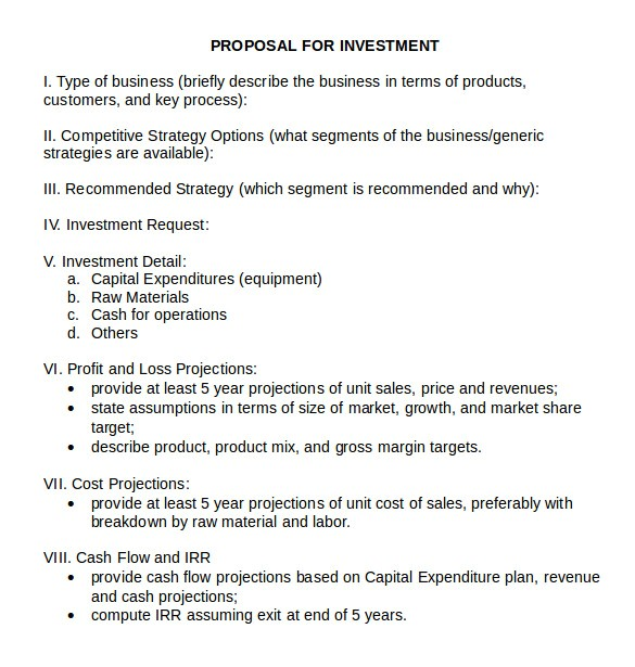 Investment Proposal Template Word 18 Investment Proposal Samples Sample Templates