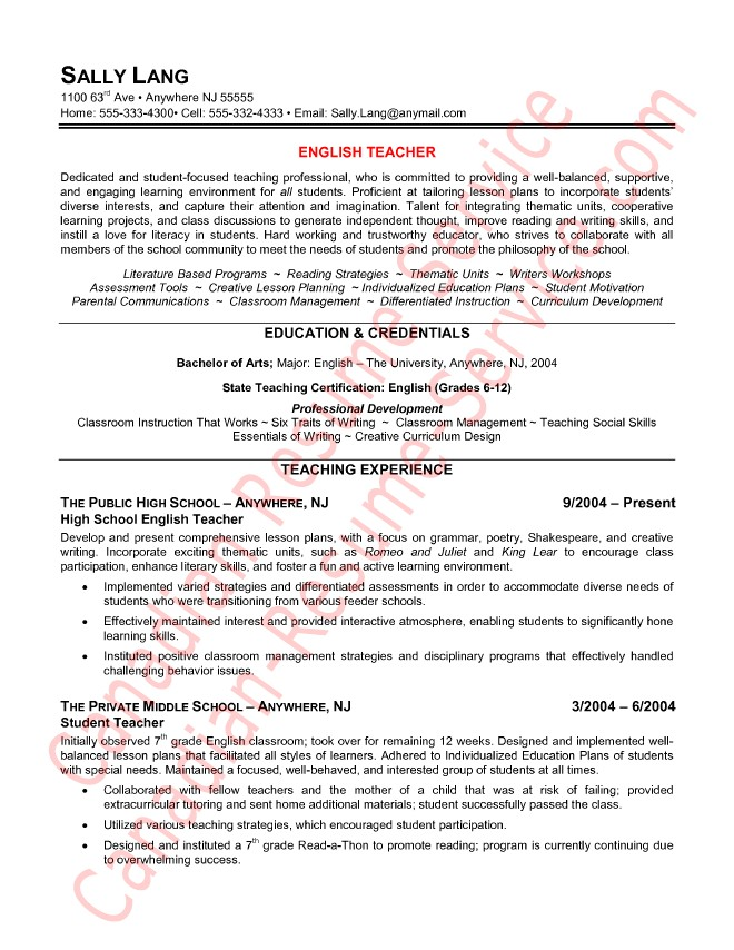 It Resume Sample Canada Epic English Teacher Resume Example or Sample