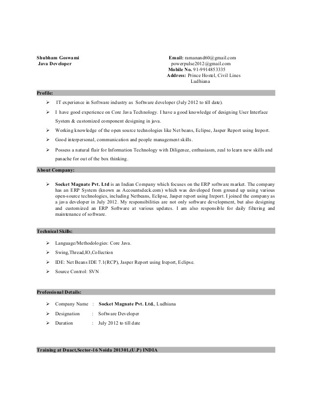 1 year experience resume format for java developer