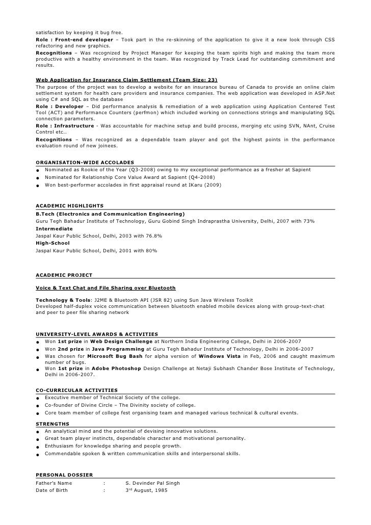 Java Sample Resume 4 Years Experience Sample Resume format for 2 Years Experience In Testing