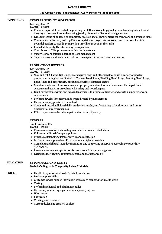 jeweler resume sample