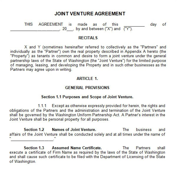 joint venture template