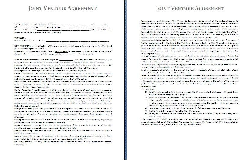 3 sample joint venture agreement