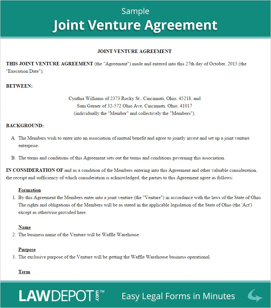 Joint Venture Business Plan Template Joint Venture Agreement Free Joint Venture forms Us