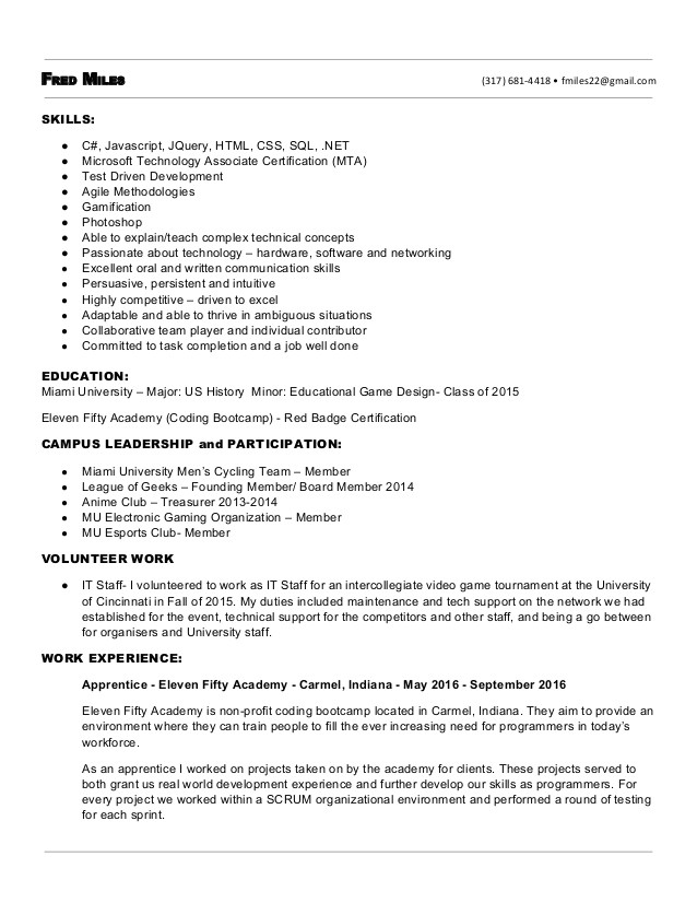 fred miles junior developer resume