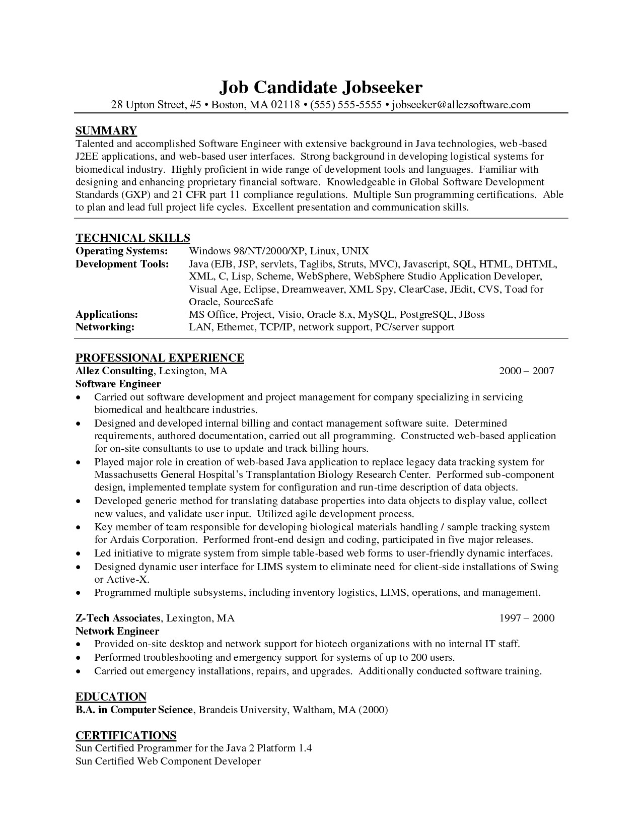 xml resume sample