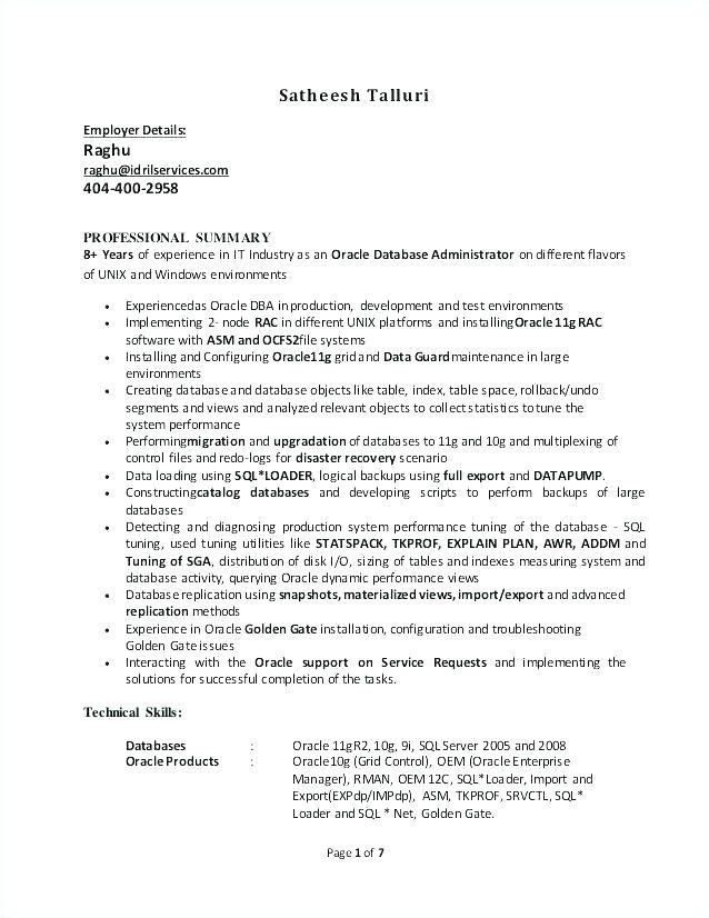 Junior oracle Dba Resume Samples 21 Junior oracle Dba Resume