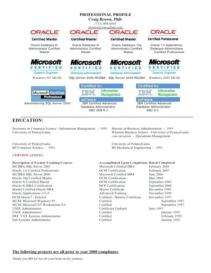 curriculum vitae database administrator