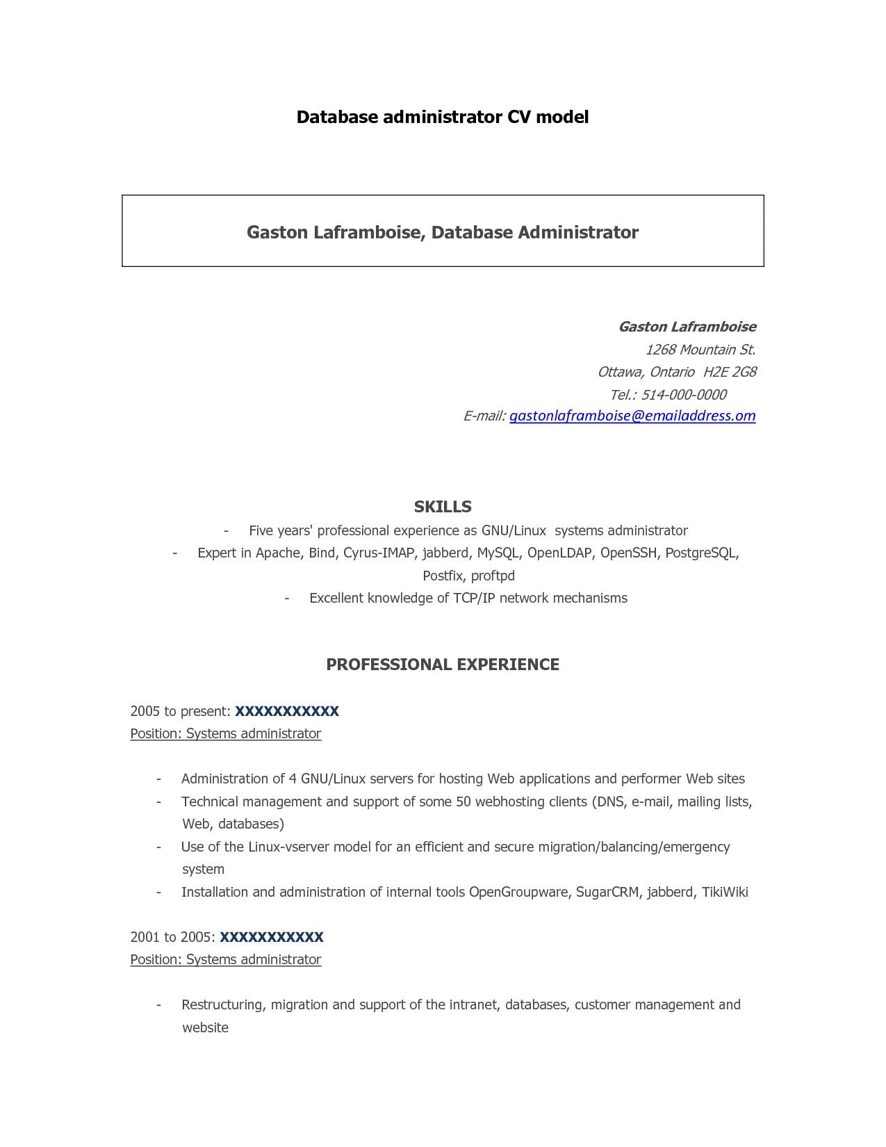 junior database administrator resume