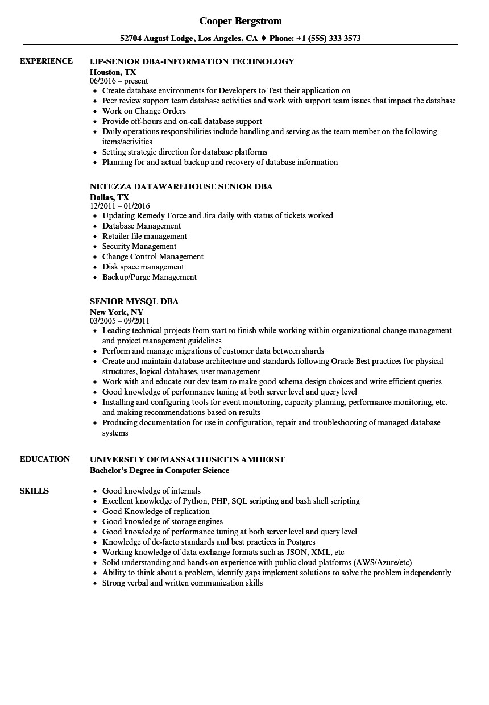 junior oracle dba sample resume