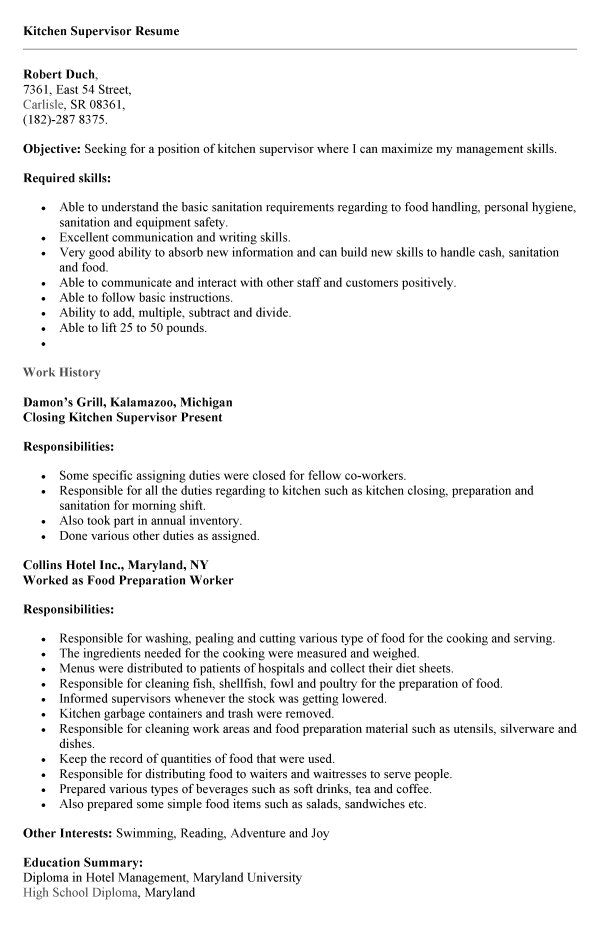 Kitchen Supervisor Resume Sample Kitchen Hand Resume Sample Best Resume Collection