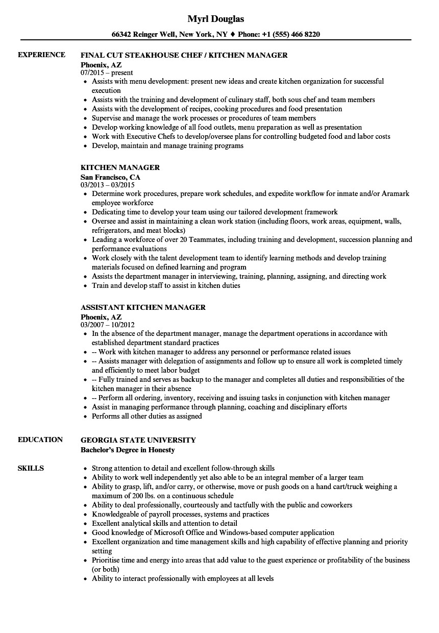 kitchen manager resume sample
