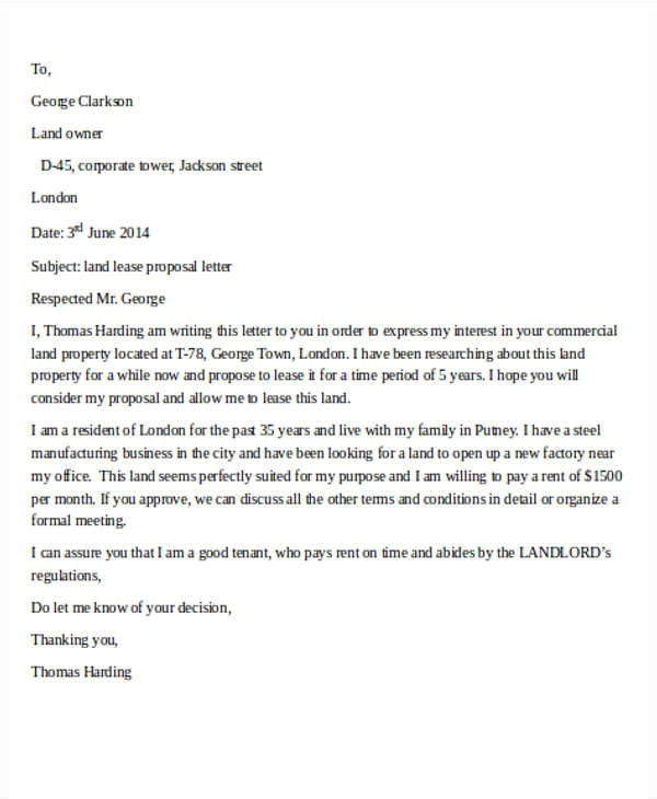 Land Proposal Template 10 Sample Lease Proposal Letters Pdf Pages Sample