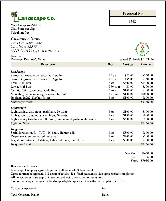 landscaping maintenance proposal template