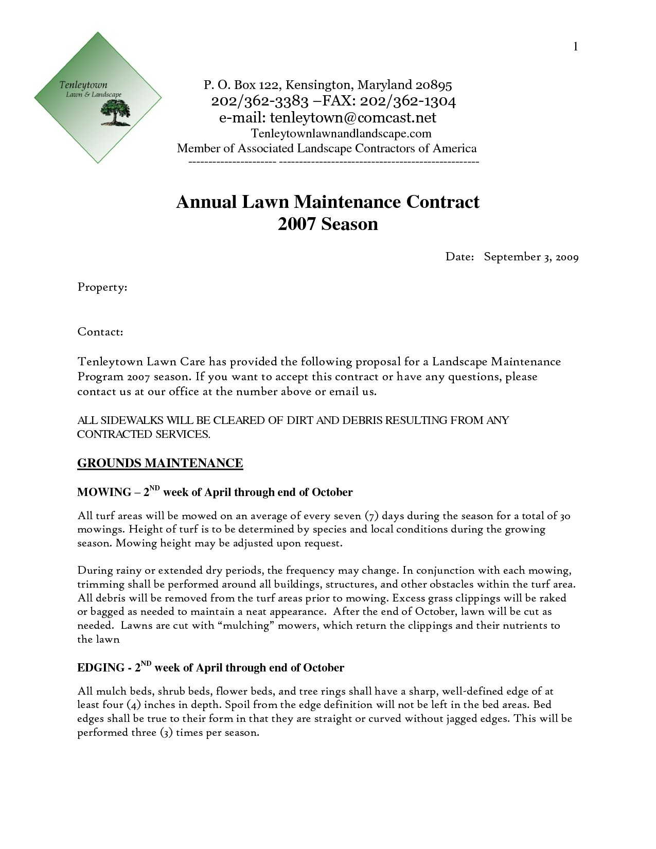 Landscape Maintenance Proposal Template Landscaping Proposal Sample World Of Examples
