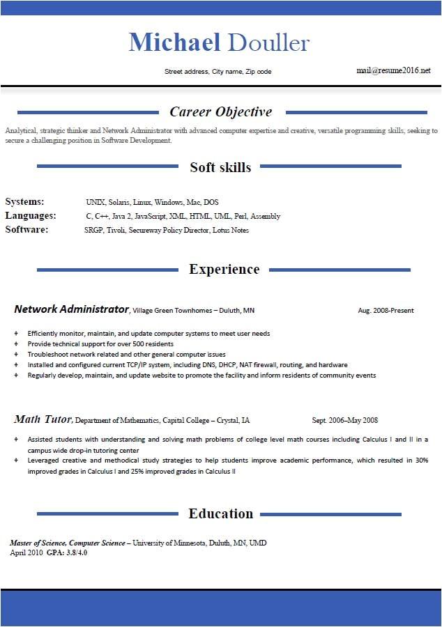 resume format 2016