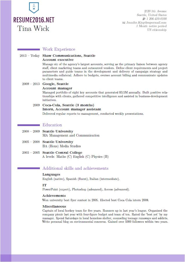 Latest Sample Of Resume 2016 Updated Resume format 2016 Updated Structure