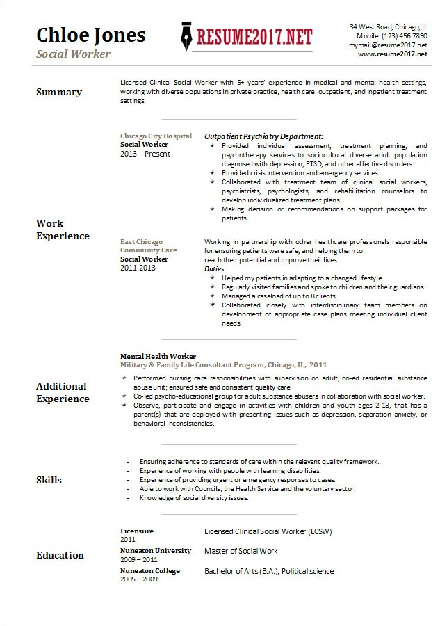 Lcsw Resume Template social Worker Resume Examples Resume and Cover Letter