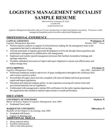 Logistic Manager Resume Sample Logistics Management Specialist Resume the Best Resume