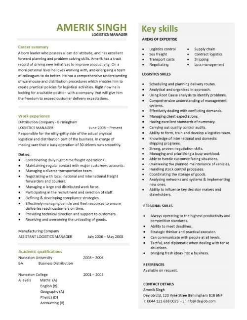 logistics manager cv template 697