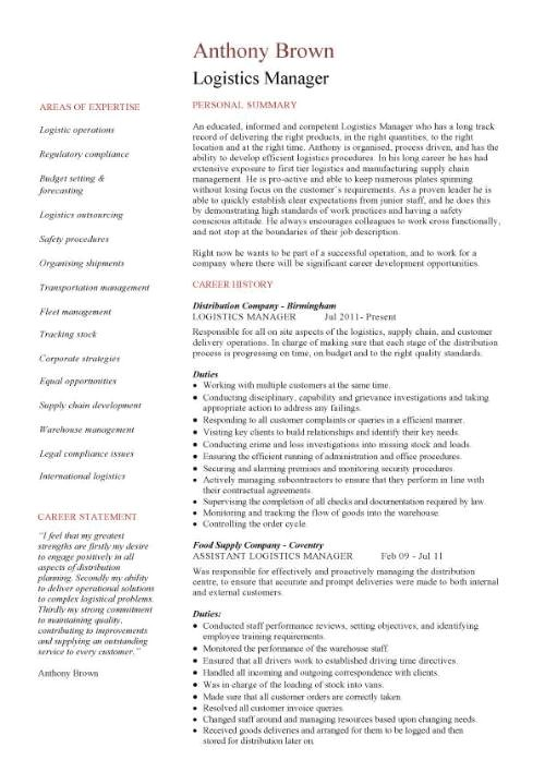 Logistic Manager Resume Sample Logistics Manager Cv Template Example Job Description