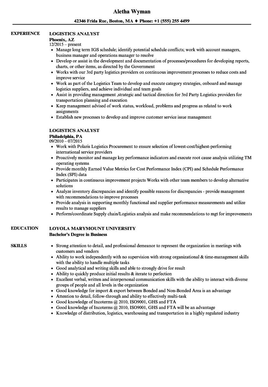 logistics analyst resume sample