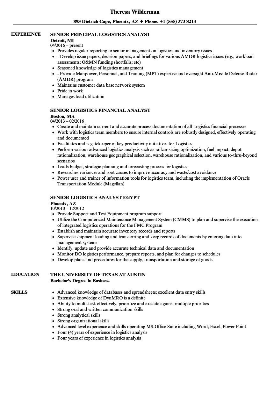 logistics analyst senior resume sample