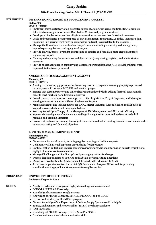 logistics management analyst resume sample