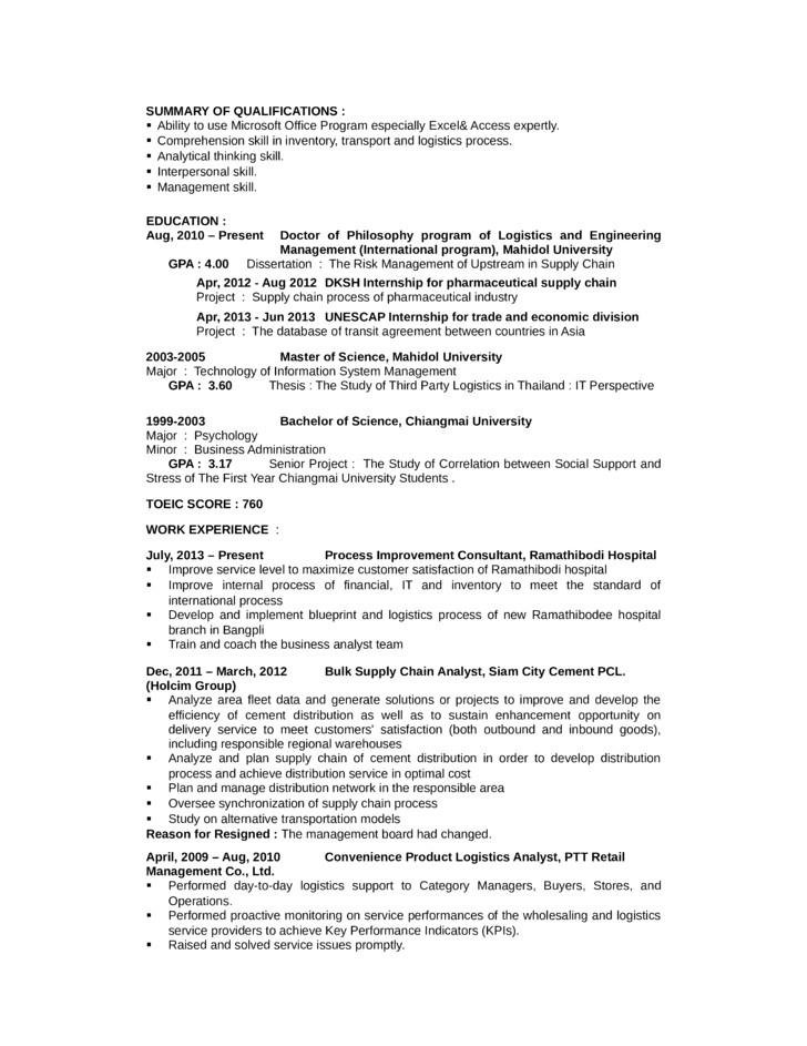 portfolio logistics analyst resume templates and samples