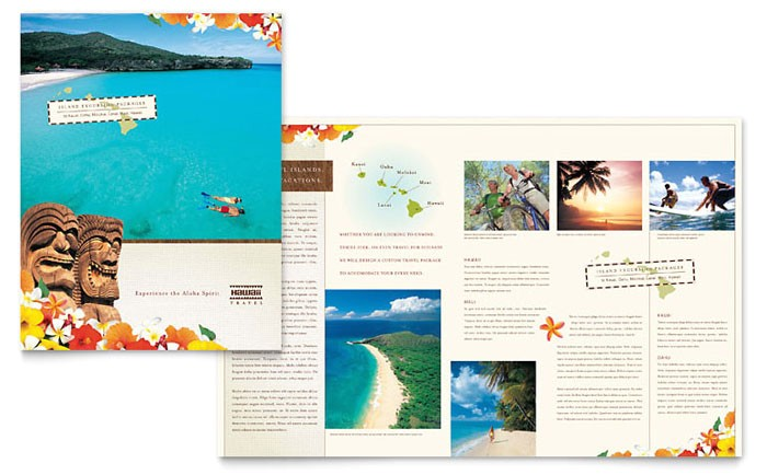 hawaii travel vacation brochure template design tr0080101