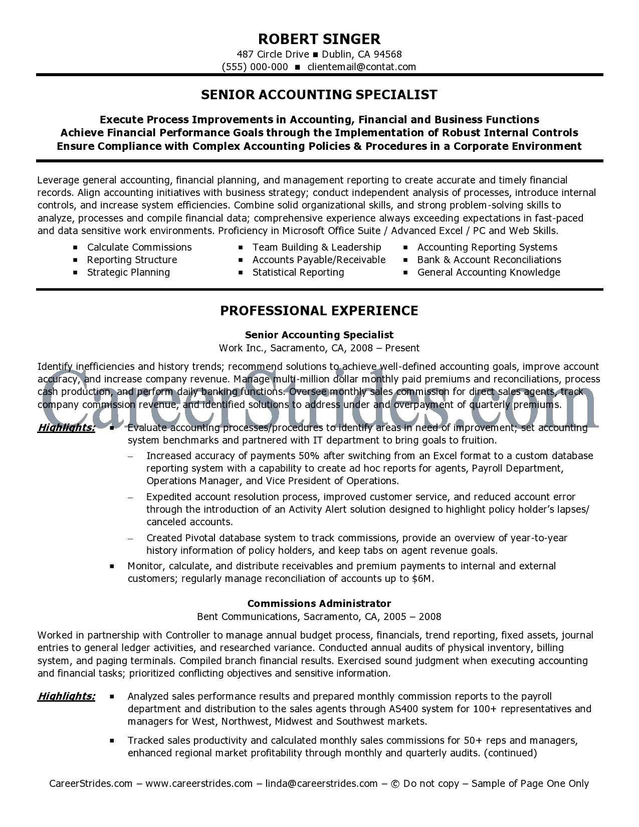 staff auditor resume sample