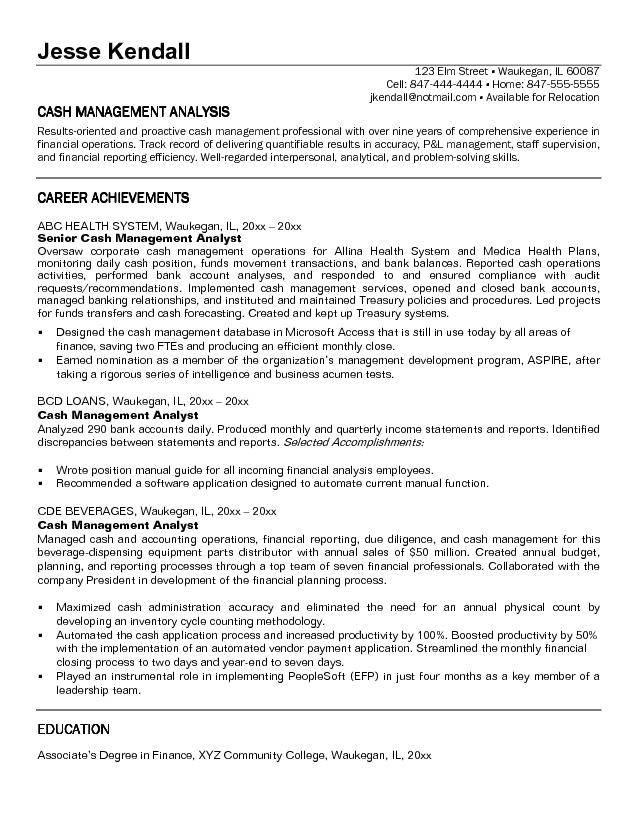cash management resume